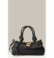 CHLOE Calfskin Leather Medium Paddington Satchel Shoulder Bag Black