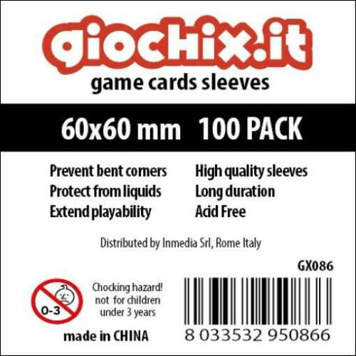 10 Packs of 100 Giochix Card Sleeves 60x60mm Transparent Card Sleeves MINT