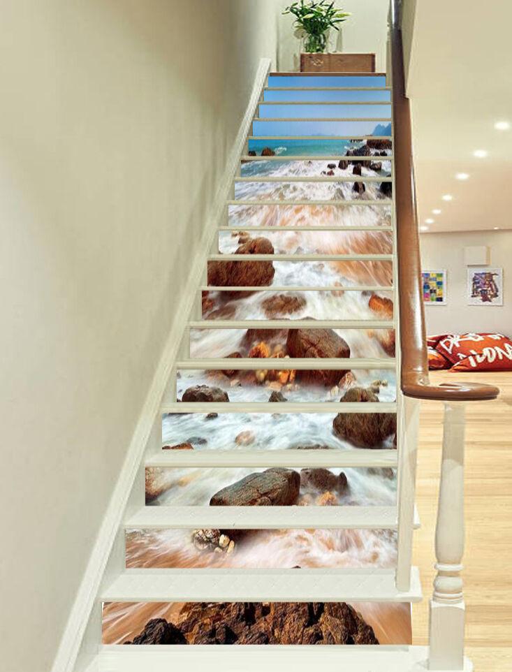 3D Fluss Stein 8853 Stair Risers Dekoration Fototapete Vinyl Aufkleber Tapete DE