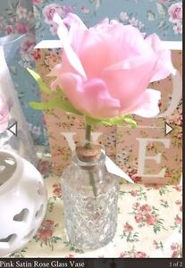 Pink Satin Rose In Glass Jar Artificial Flower Floral Shabby Chic Pretty Gift