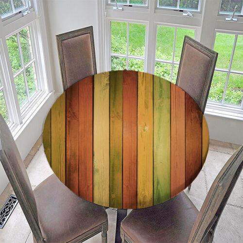 Retro Elastische Runde Tischdecke Tischtuch Gepaßte Polyester Tischabdeckung