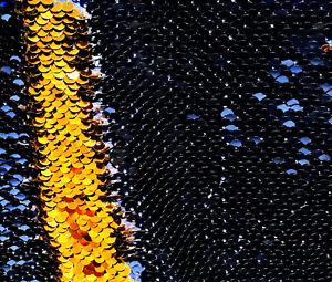 Avorio Champagne Reversibile 5mm Paillettes Tessuto Flip Bicolore Elastico 130cm