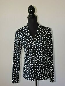Laura Ashley Black White Polka Dot White Lightweight Jacket Shirt Full Zipper M