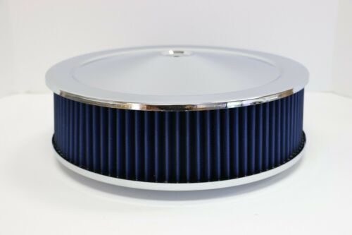"""14/"""" X 4/"""" Round Chrome Blue Washable Air Cleaner Flat Base Ford Chevy SBC 350 454"""