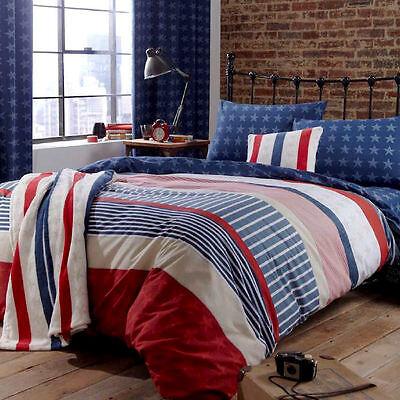Stars And Stripes Red White Blue Reversible Single Duvet Quilt Cover Bedding Set