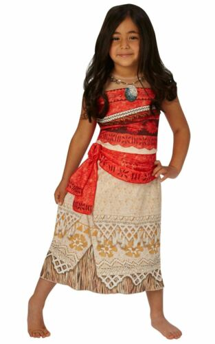 Girls Moana Costume Kids Disney Princess Fancy Dress Fairytale Licensed Dressup