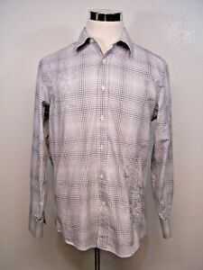 Blue-by-Pronto-Uomo-Mens-Shirt-Gray-Check-with-Embroidered-Design-Size-L
