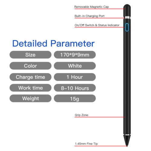 Rechargeable Sensitive Touch Screen Pen Pencil Stylus For iPhone iPad Samsung PC
