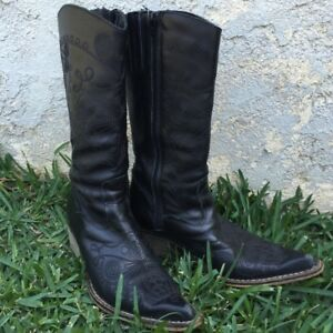 Genuine Black Leather Western Cowboy Boots, Size 6.5 (EUR 37) Cowgirl Stitching