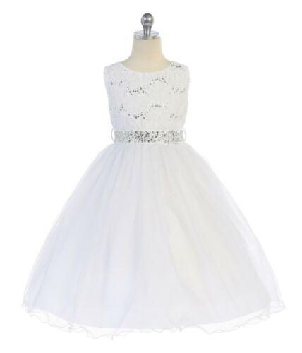 Sleeveless Lace top Tea Length Flower Girl Formal Pageant Wedding USA Made