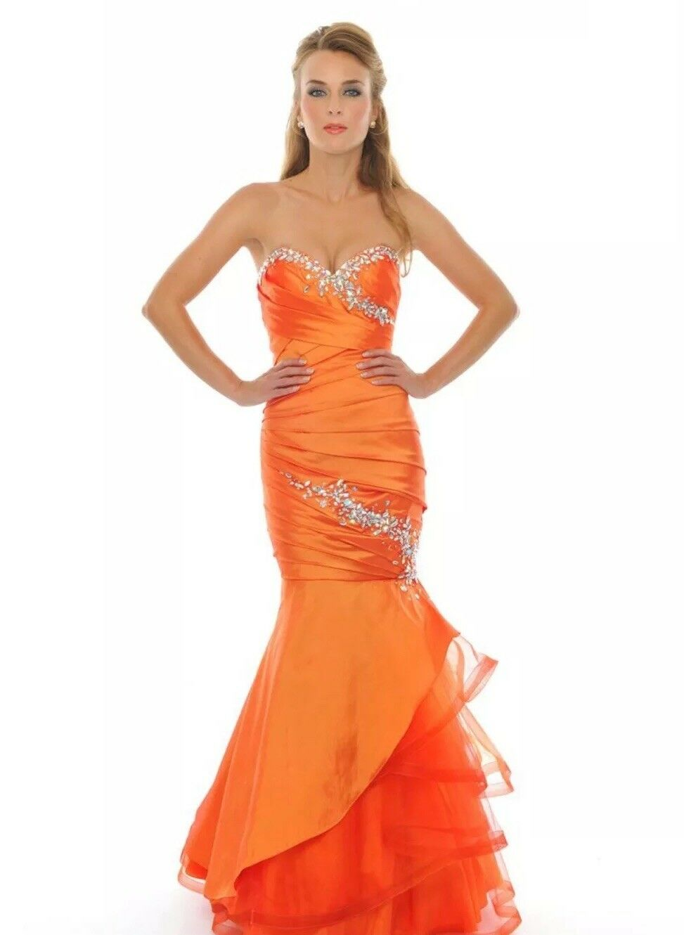 Precious Formals Orange Prom Dress With Lace Up Back - 6 (fits Größes 4-8)