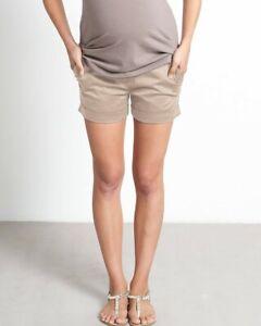 Mothers en Vogue Maternity Roll Support Waistband, Tan Sateen Shorts Small 2/4