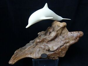 Vintage John Perry Dolphin and Calf on Burl Wood Sculpture