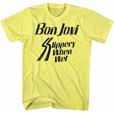 Bon Jovi Tall T-Shirt Slippery When Wet Album Black Tee