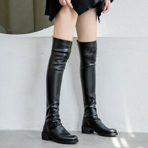 Over The Knee Flat Leather Boots
