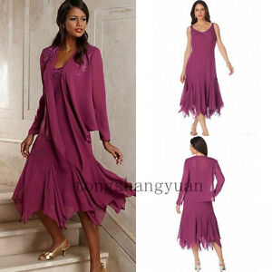 2-Pieces-Mother-Of-The-Bride-Dresses-Chiffon-Evening-Formal-Gowns-Plus-Size-New