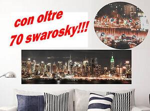 Quadro quadri moderno arredo testata letto skyline new york 90x30 con swarosky ebay - Quadro testata letto ...