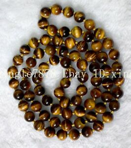 Beautiful-Natural-8mm-12MM-Tiger-039-s-eye-Gems-Round-Beads-Necklace-20-45inch