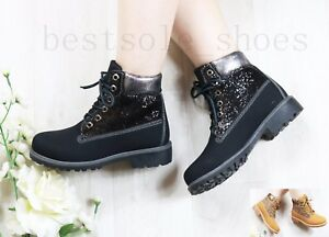 LADIES WOMENS GLITTER ANKLE BOOTS ARMY