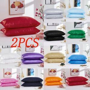 2pcs-15Color-Solid-Silk-Pillowcase-Cover-Standard-Size-Satin-Bedding-Pillow-case