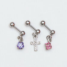 3 X HELIX EAR UPPER EAR TRAGUS PIERCINGS WITH DIFFERENT CHARMS CROSS DICE