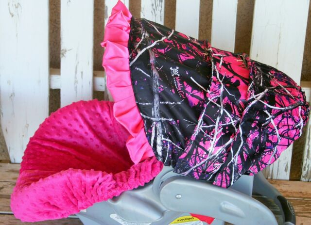 Infant Car Seat Cover Hood W Ruffle Muddy Girl Camo And Hot Pink