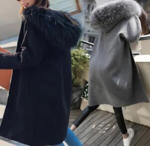 Chaude Vent Femmes Manteau De Long De Col Chic Coupe Manteau Outwear Mélange Fourrure Capuchon Grand Laine aIfaxwOrq