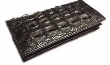 Black Men's Genuine Crocodile Bone Skin Wallets Alligator Leather Long Bifold