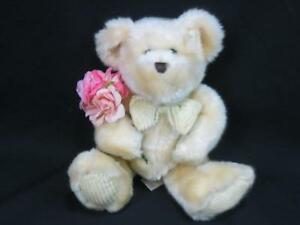 SOFT-CORDUROY-FEET-BO-DAN-DEE-PINK-FLOWER-ROSES-TEDDY-BEAR-CAN-ATTACH-TO-BALLOON