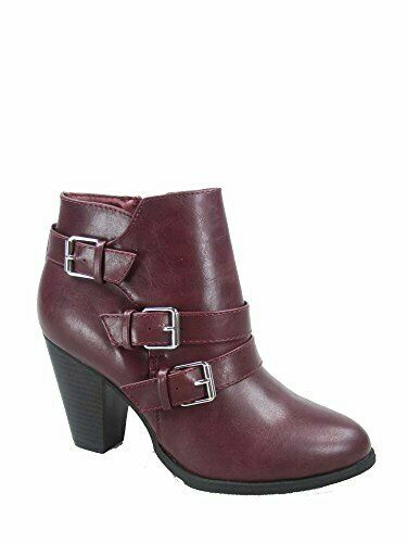 Forever Link Camila-64 Women's Heel Ankle Booties Shoes (7.5 B(M) US, Wine)