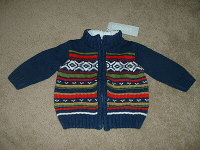 Gymboree Baby Boys Jolly Moose Navy Winter Sweater Size 6-12 months mos NWT $32