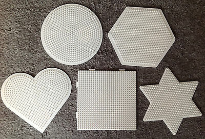 5 große Stiftplatten midi Hama weiß, Herz, Kreis, Stern, Viereck (Multiplatte)