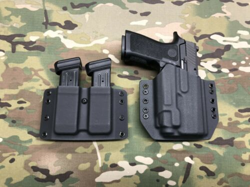 Black Kydex LIght Holster SIG P320 Compact Streamlight TLR-8 w// Dual Mag Carrier