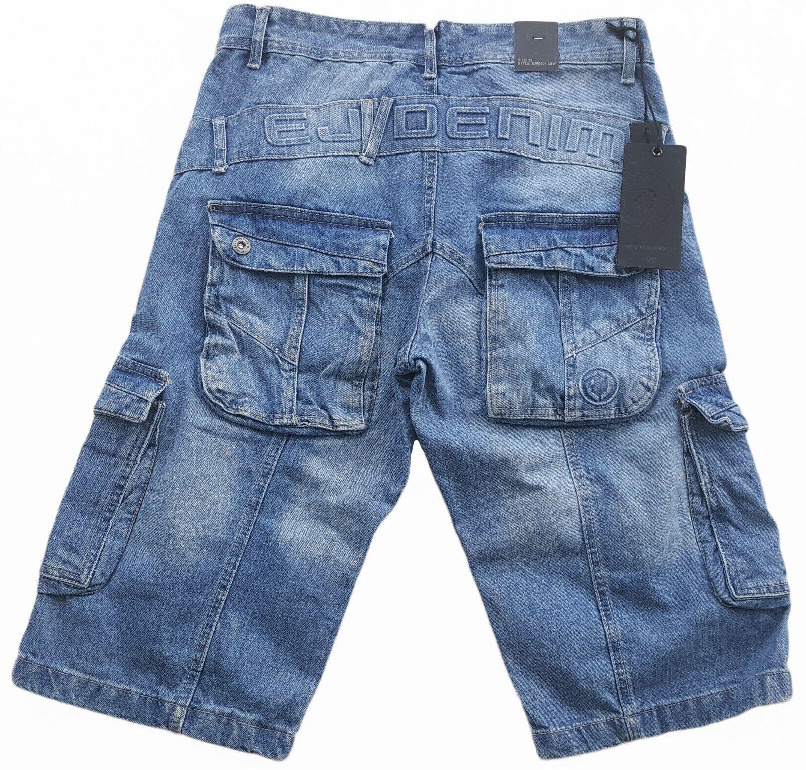 Da Uomo Eto Combat Moda Denim Pantaloncini Eccezionale Dettagli Ems 604-Luce Blu Slavato
