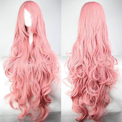 Women Pink Heat Resistant Long Curly Synthetic Full Hair Wigs Cosplay Party Wig