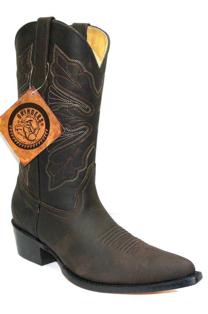 Grinders Mujeres Dallas Marrón Cuero Occidental Auténtico Arranque Vaquero Occidental Cuero Mitad de Pantorrilla Toe Boots f2ee04