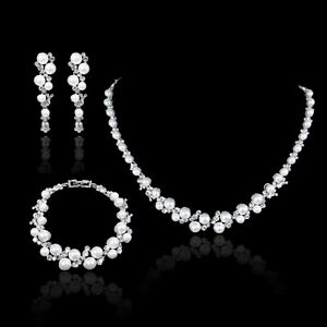 Image Is Loading Elegant Pearl Crystal Wedding Party Prom Necklace Earrings