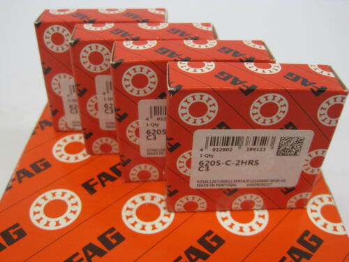 4 Stück FAG Rillenkugellager 6205-C-2HRS-C3 25x52x15 mm Kugellager 6205 2RS C3
