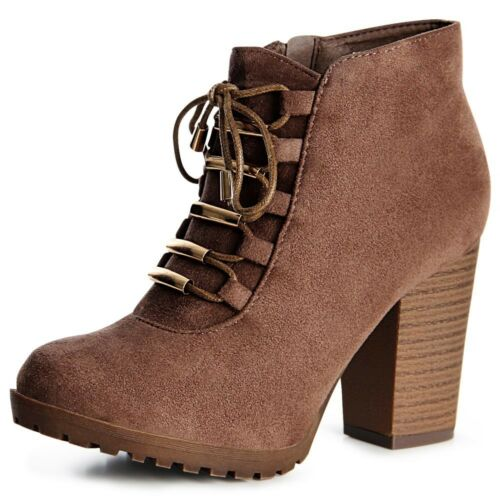 Damen Plateau Stiefeletten Ankle Boots Stiefel Booties Pumps Schnürer