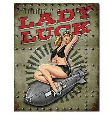 VINTAGE PIN UP LADY LUCK AIRPLANE PLANE USA BOMBER NOSE ART MILITARY METAL SIGN