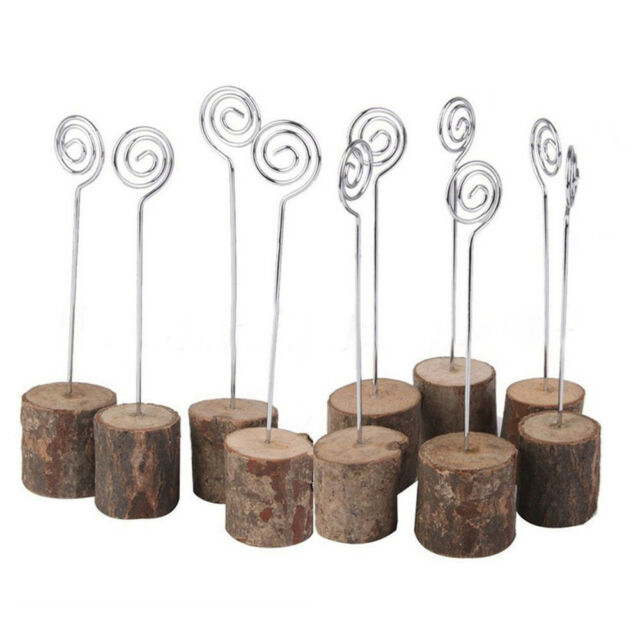 10Pcs Rustic Wedding Table Wood Place Number Name Card Stand Holder Decor Health