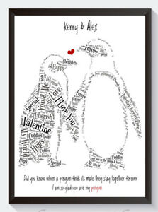ALL YOU NEED IS LOVE PENGUINS PERSONALISED ANNIVERSARY ENGAGEMENT WORD ART PRINT
