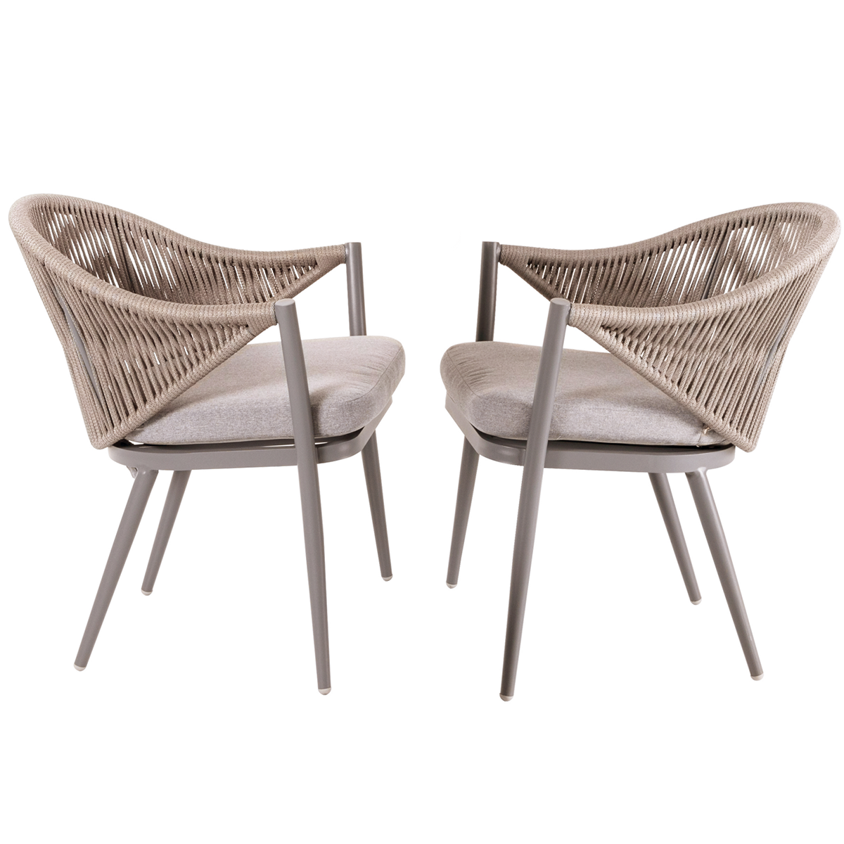 Aluminum Woven Rope Outdoor Furniture Dining Chair With Beige Cushions Set Of 2 Ebay