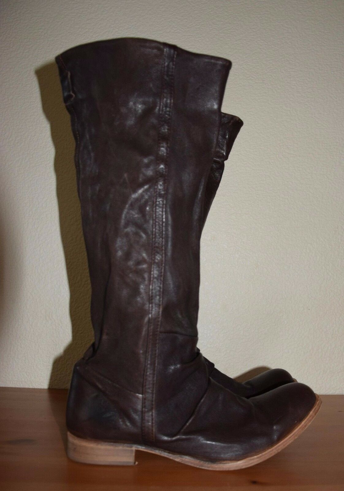 H By Hudson Dark Brown Knee High Leather Leather Leather Boots Size 41  UK 8 e6baea