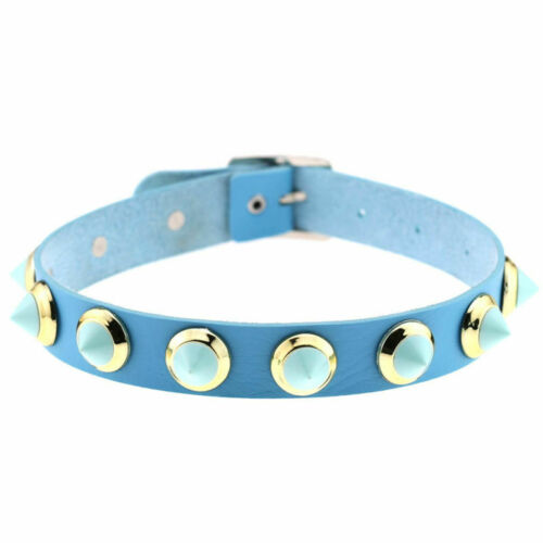 Punk Gothic Leather Choker Chain Candy Spike Rivet Buckle Collar Necklace