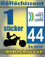 1 Sticker REFLECHISSANT département 44 rétro-réfléchissant immatriculation MOTO