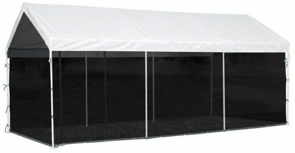 Canopy 10 ft. x 20 ft. 2-in-1 in White Finish with Screenhouse Enclosure Kit
