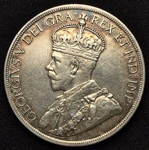 Canada-1936-1-One-Dollar-Silver-Coin-VF-Rim-Rainbow-Toning