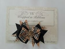 Big hair bows for girls White Tan Black Red Silver Luxe Plaid Boutique Bow