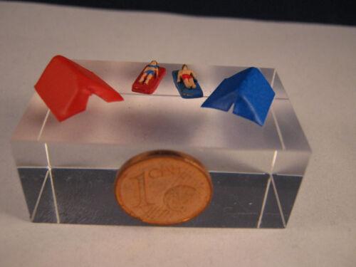 JS01 Badende auf Luftmatratzen mit 2 Zelten Figuren Spur Z 1:220